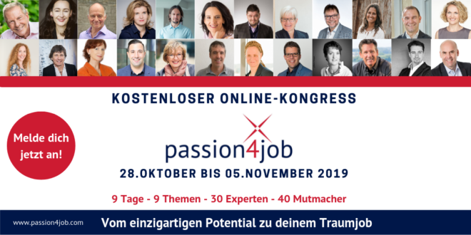 passion4job online Kongress 2019 um Traumjob zu finden