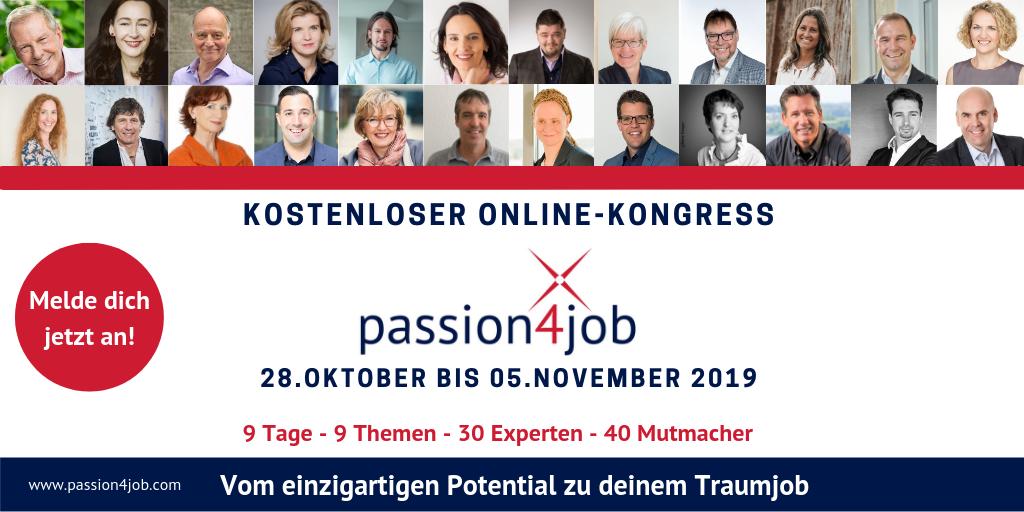 passion4job online Kongress 2019 um Traumjob zu finden