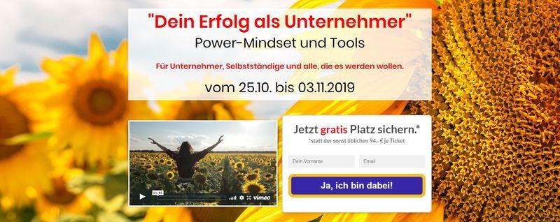 Dein Erfolg als Unternehmer Power-Mindset Online Kongress für Unternehmer und Selbstständige