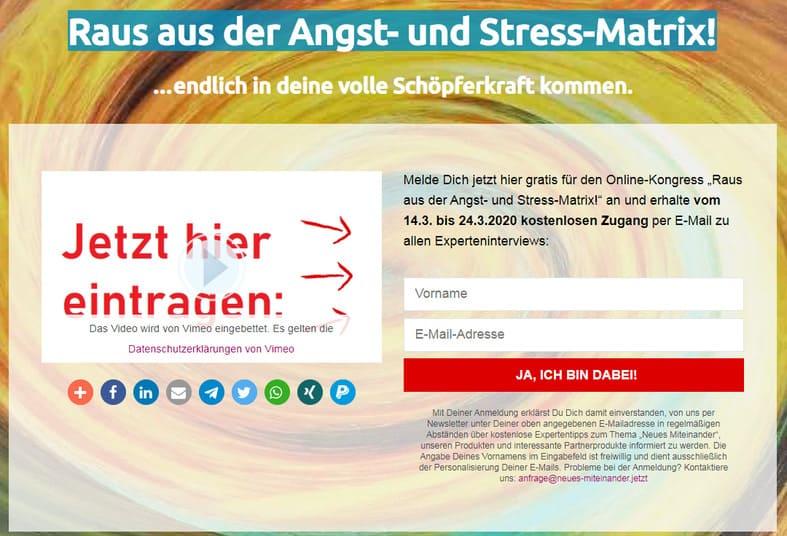 Raus aus der Angst- und Stress-Matrix Online-Kongress 2020