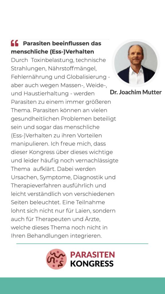 Expertenmeinung von Dr. Joachim Mutter zu Parasiten